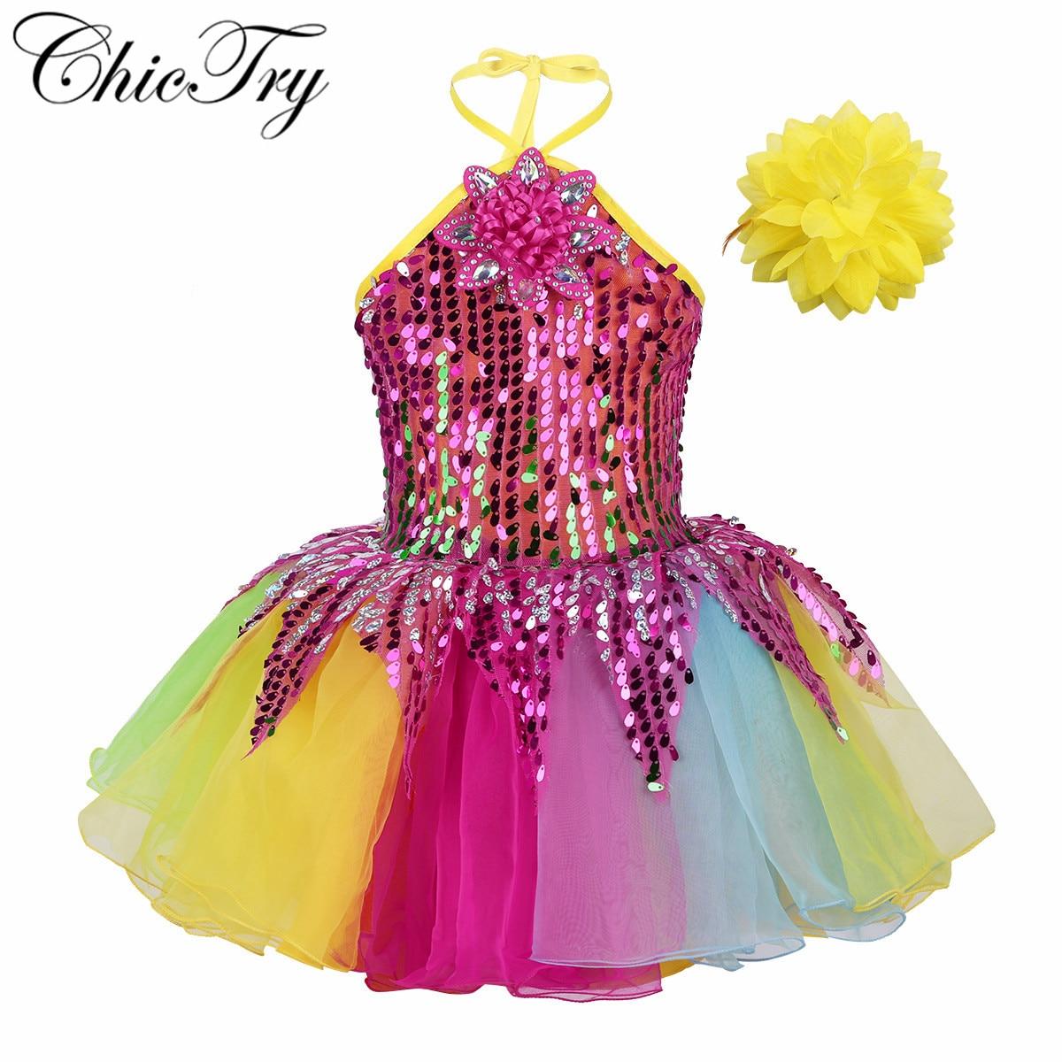 Girls Ballet Dress For Children Girls Dance Clothing Kids Sequins Ballet Costumes Girls Tutu Dance Stage Performance Dancewear