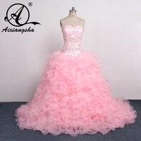 Detachable Skirt 2016 Ball Gown Sweetheart Floor Length Organza Ruffles Beaded Crystals Cheap Pink Quinceanera Dresses