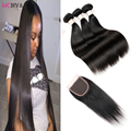 Peruvian Virgin Hair Bundle With Top Lace Closure Straight Weaves ms lula Unprocessed Cheap Hair bundles 4pc lot Hair Extensions