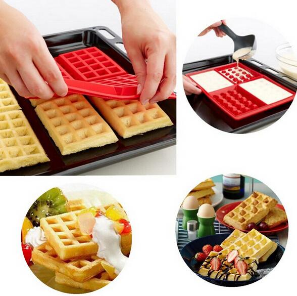 Family Silicone Waffle Mold Maker Pan Microwave Baking Cookie Cake Muffin Bakeware Cooking Tools Kitchen Accessories Waffle Mold