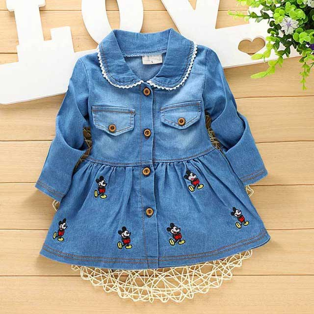 Autumn Spring Casual baby Kids infant Children girls Bow Duckling embroidery cardigan Single breasted Dress Y1500
