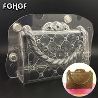 3D Chocolate Mould Polycarbonate Lady Bag Shaped Plastic Form Making Mold With Magnet Baking Pastry Tools