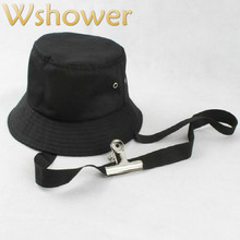 ab6c692bd1cb Which in shower Cotton Solid Color Black Plain Bucket Hat With Ribbon  Fashion Blank Summer Panama Women Men Fishing Cap