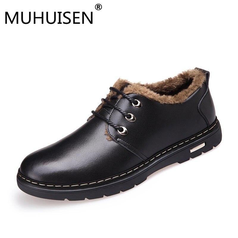 MUHUISEN Winter Männer Echtes Leder Schuhe Mode Casual Plüsch Warme Stiefel Lace Up Wohnungen Männlichen Schnee Stiefel Pelz Innen Komfort