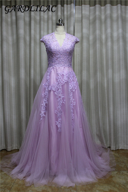 Gardlilac Tulle Sleeveless Lavender long Prom Dress2017With applique Cap Sleeve V-Neck Long Evening party Dress