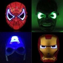10pcs/lot LED Head Mask Super Hero Hulk/American Captain/Iron Man/Spiderman/Batman Crazy Rubber Party Halloween Costume Mask guxen hero hulk head