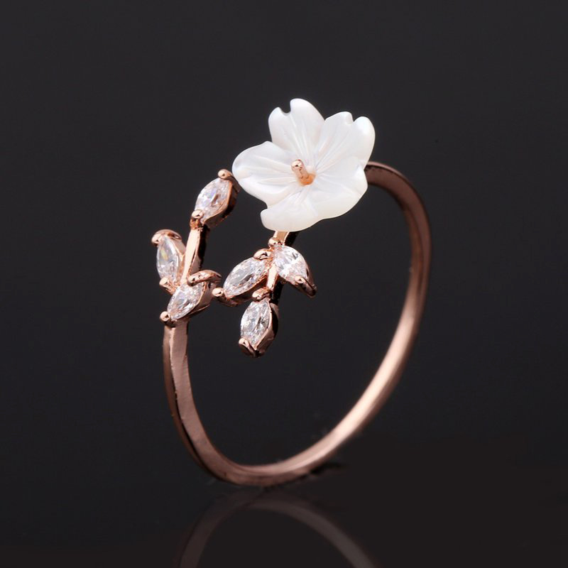 Fashion Rose Gold Crystal Cubic Zircon CZ Leaf Leaves Shell Lily Flower Finger Ring for Women Ladies Elegant Plant Jewelry Gift