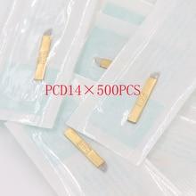 Wholesale 500 pcs microblading needle 14 pin pcd Lamina Tebori 14 Hard Flex Microblading 14 Prong flat permanent makeup supplies