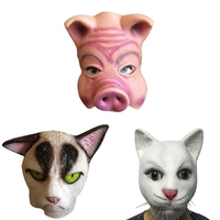 Party Masks Halloween Mask Latex Thicker Male Female Mask Fox Cute Cat Head Set White Cat