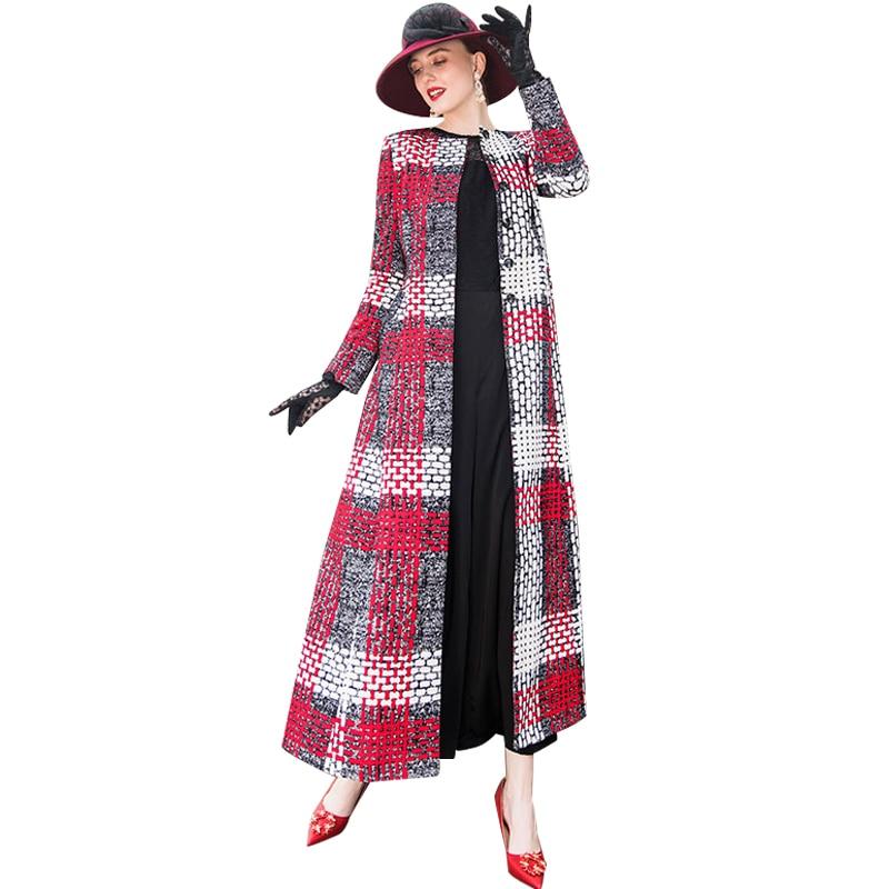 Trench e Impermeabili Cappotto A Quadri 2018 di Autunno Cappotto Lungo di Lusso Trench e Impermeabili Delle Donne Outwear Office Lady Completa Lunghezza Del Cappotto 6487