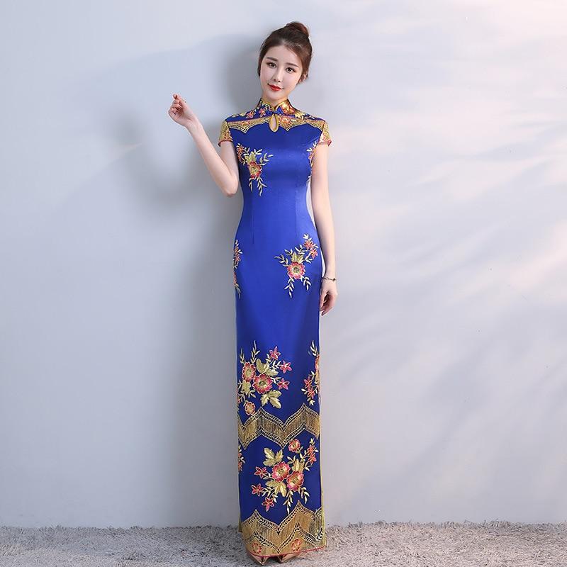 e13a7dc76d2 Новые синие китайское традиционное платье Для женщин тонкий Cheongsam  вышивка пайетками современные восточные длинные Qipao вечерние
