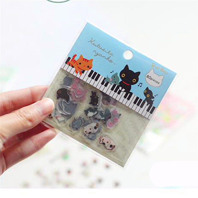 80 PCS/lot  Cute Lovely Cat Transparent PVC Sticker For Diaries School Student  Mini Cartoon Decoration Stickers