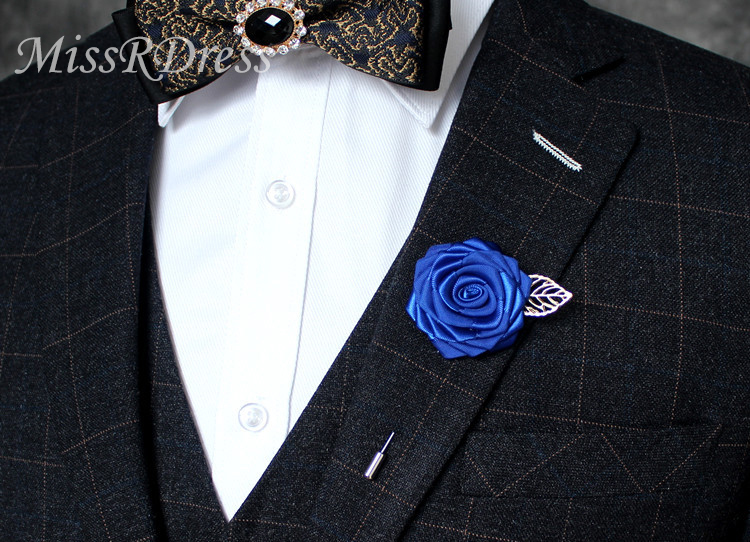 MissRDress Wedding Corsage Handmade Brooch Stain Rose Groom Boutonniere Blue Groomsmen Boutonniere For Wedding Accessories JKx10