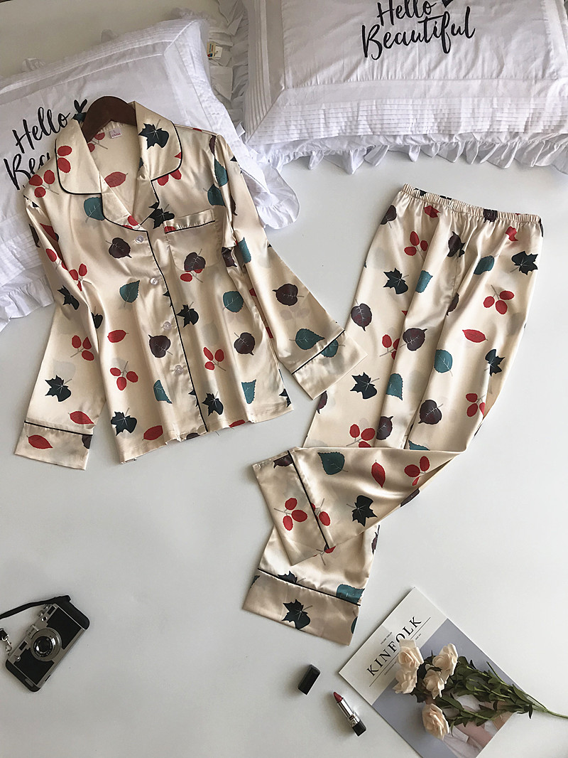 ZOOLIM Autumn Long Sleeve   Pajamas     Sets   with Pants Sexy Satin Sleepwear Pijama Women Silk Pyjama Femme Flower Print Clothing