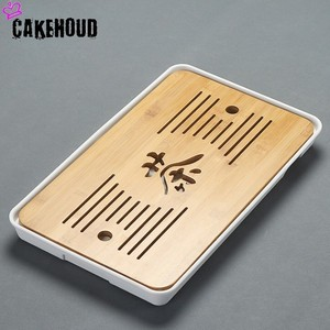 Image 2 - CAKEHOUD China Puer Tee Bambus Tablett Tee Tablett Entwässerung Wasser Lagerung Tisch Kungfu Tee Zeremonie Bord Service Tablett TeaAccessories
