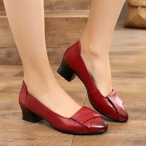 Image 5 - Gktinoo 2020 nova primavera outono couro genuíno feminino ol sapatos de festa meados saltos sapatos trabalho mocassins dedo do pé apontado sapatos femininos
