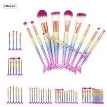 4/6/10/12/16PCS/Set Unicorn Mermaid Makeup Brush Set Foundation Blending Brushes Powder Eyeshadow Make Up Contour Brusher