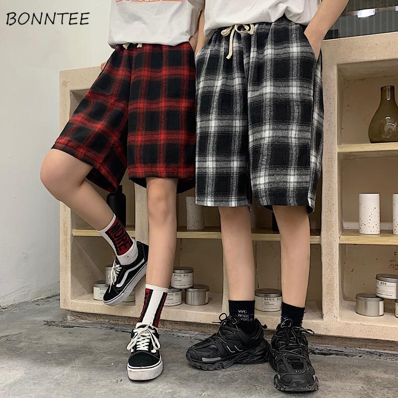 Pants   Women Summer Harajuku BF Retro Loose Straight   Pant   Chic Womens Drawstring Couple Ulzzang Pockets Plaid Casual Sport   Capris