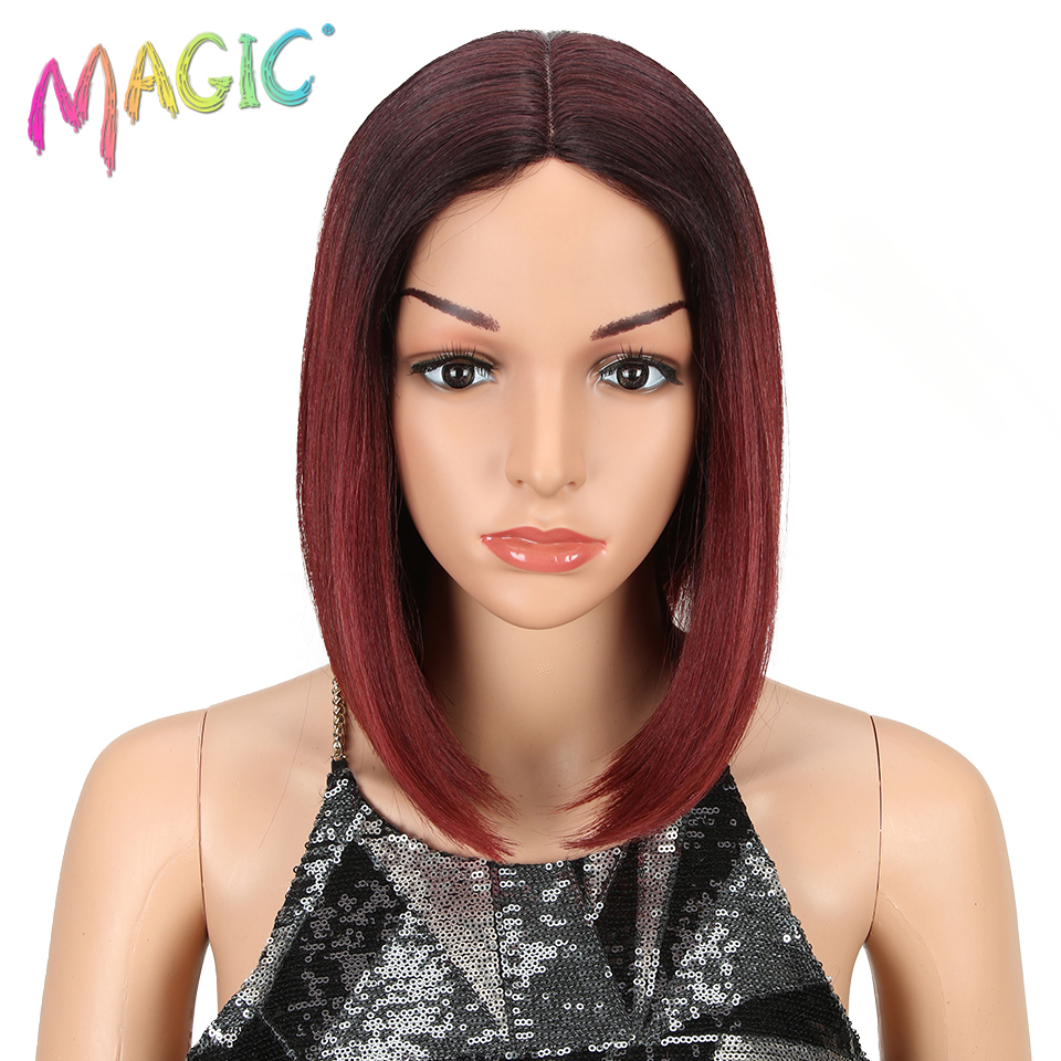 MAGIC Hair African American Short Wigs Synthetic Lace Wigs For B Women Ombre Red Bob Wig I Part Lace 12 Inch Free Shipping