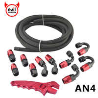 evil energy AN4 Nylon 5M Stainless Steel Oil Fuel Hose Line+AN4 Anoized Aluminun Fittings Hose End Adapter+Adjustable Spanner