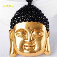 KYSZDL Natural obsidian pure gold color Buddha head pendant men and women crystal Shakya Mani necklace jewelry