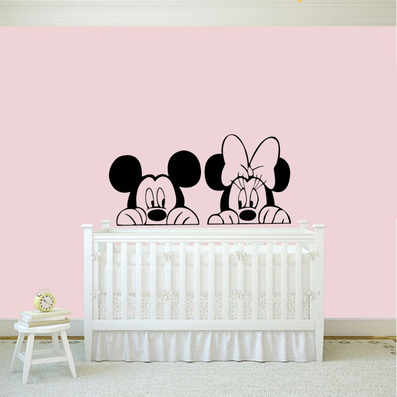 New Arrived Cartoon Mickey Minnie Mouse Wall Decals Vinyl Sticker Home Decor Kids Bedroom Nursery Mural Wallpaper Design In Stickers From Garden