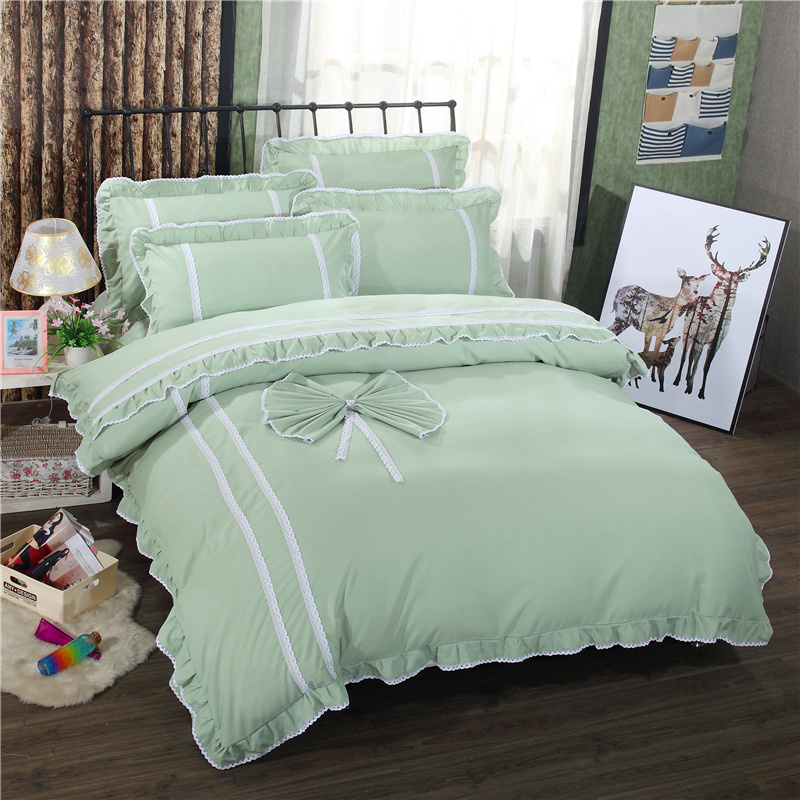 Korean style twin full queen size green bedding sets polyester lace princess duvet cover - Twin size princess bed set ...