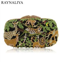 Ladies Clutches Women's Luxury Diamond Evening Box Zoo Design Rhinestone Clutch And Evening Bags With Chain SMYZH-E0233