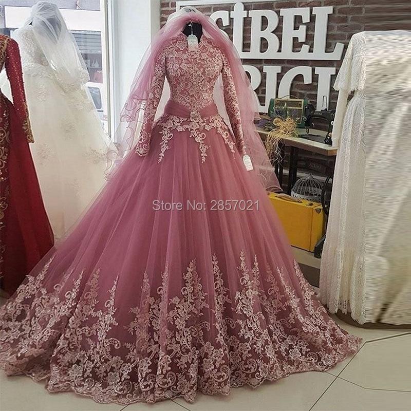 Aliexpress.com Acheter Robe De Mariée 2017 Rose Turc Islamique Robes De  Mariée Avec Voile Musulman À Manches Longues En Dentelle Applique Robe De  Mariée