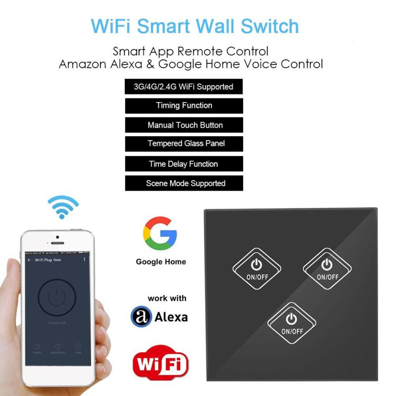UK Standard 3 Gang Light Wall Switch Wireless Smart Remote Control Switch Waterproof Crystal Tempered Glass Panel Touch Switch