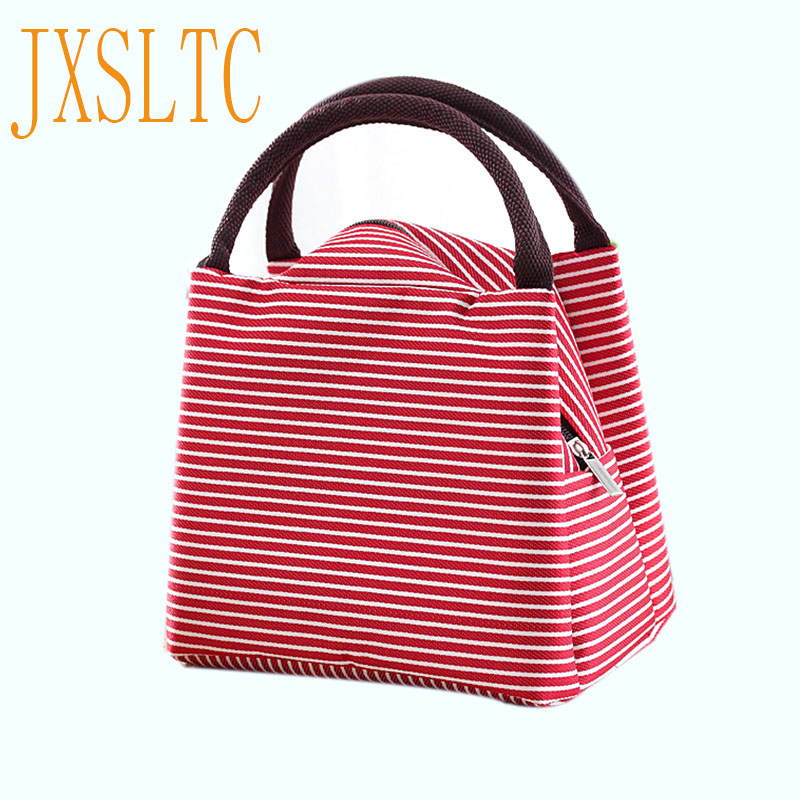 Simple Stripes Insulated Lunch Bag For Women Packaged Food Thermal Bags Thermo Pouch Isothermal Bag Kids Lunch Bag Refrigerator