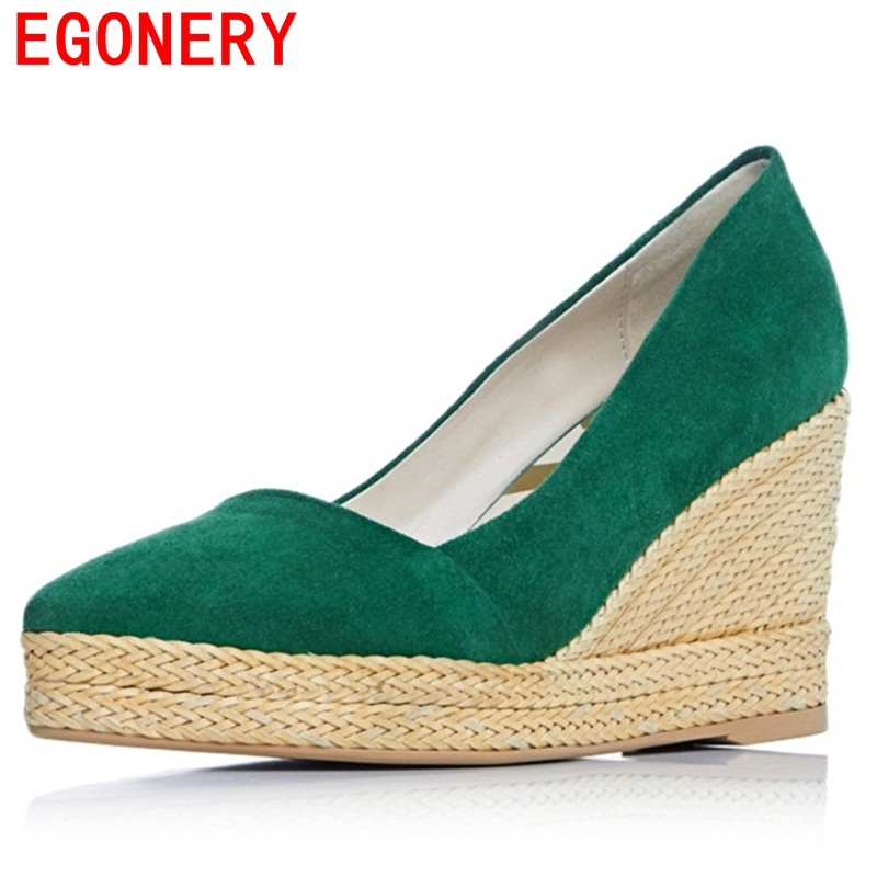 EGONERY women pumps suede wedges cool and refreshing dew instep special popular high heels pointed toe spring concise shoes egonery shoes 2017 spring and autumn concise wedges butterfly knot pumps simple lace up sweet round toe women fashion high heels