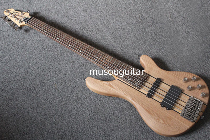 new brand 6 string electric bass with active pickup thru neck in guitar from sports. Black Bedroom Furniture Sets. Home Design Ideas