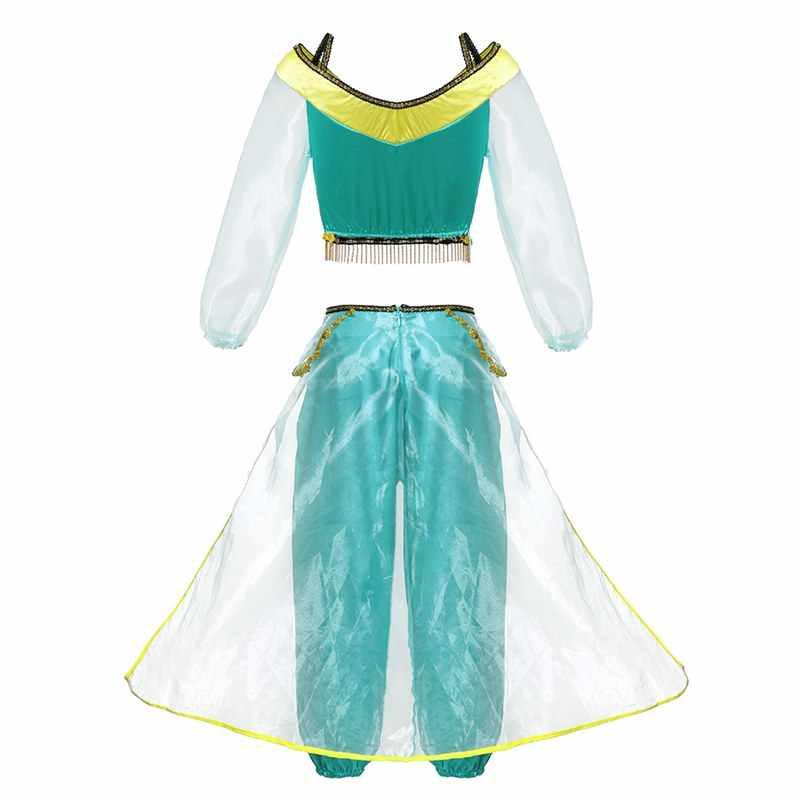 3b50cb674840d VOGUEON Girls Lamp of Aladdin Jasmine Princess Costume Kids 3 Pcs Set  Arabian Dress Up Girl Birthday Party Cosplay Fancy Dress