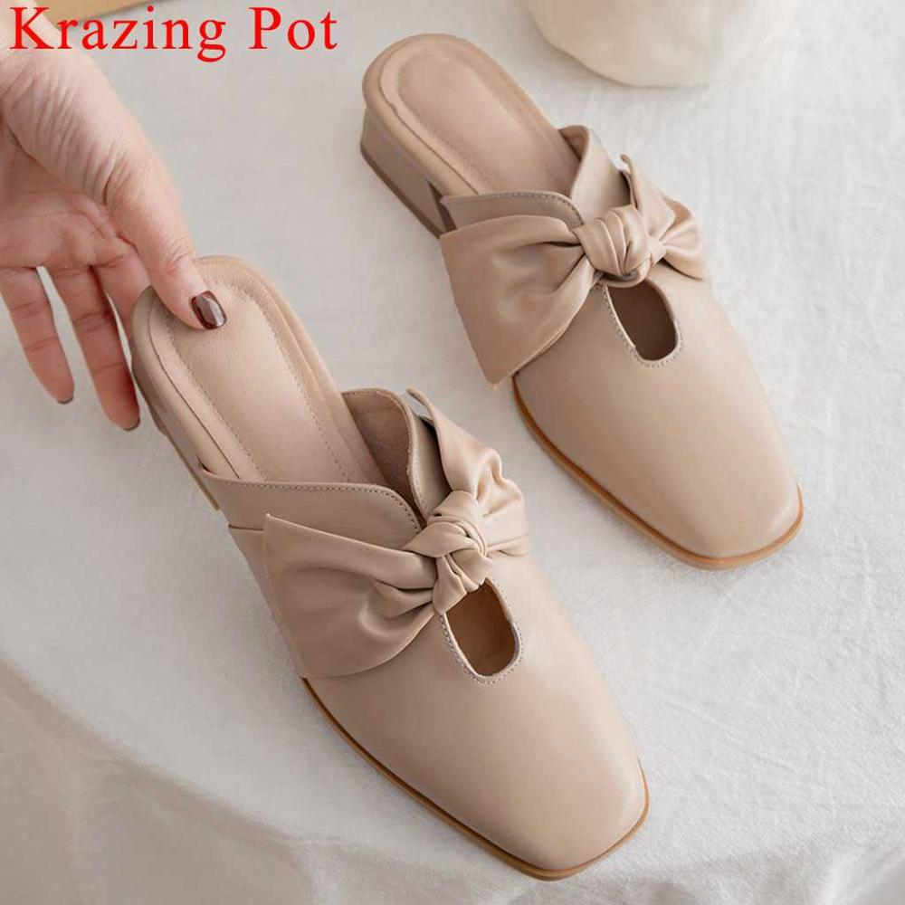 Krazing Pot genuine leather low heels slip on mules fairy square toe women pumps butterfly-knot decoration dating shoes L46Krazing Pot genuine leather low heels slip on mules fairy square toe women pumps butterfly-knot decoration dating shoes L46