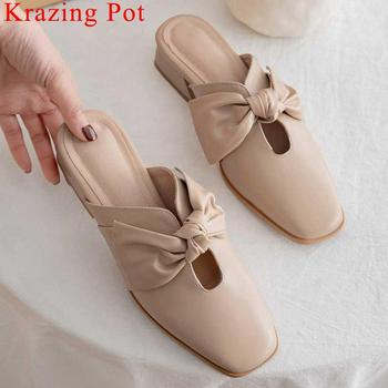 Krazing Pot genuine leather low heels slip on mules fairy square toe women pumps butterfly-knot decoration dating shoes L46