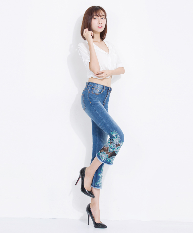 KSTUN Women's Jeans Summer Flare Pants High Waist Bell Bottoms Embroidery Female Trousers Casual Calf-Length Blue Lace Net Jeans 13