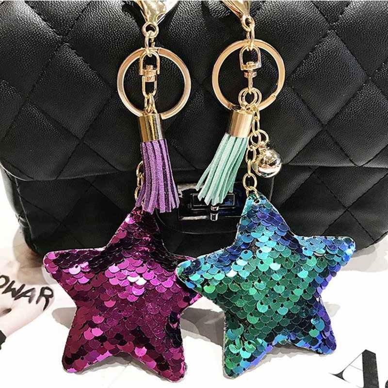 Bonito Estrela Glitter Borlas Pequena Bola De Metal Lantejoulas Mulheres Bolsas Chaveiros Acessórios Do Carro Charme Anel de Ouro 2018 de Moda de Nova
