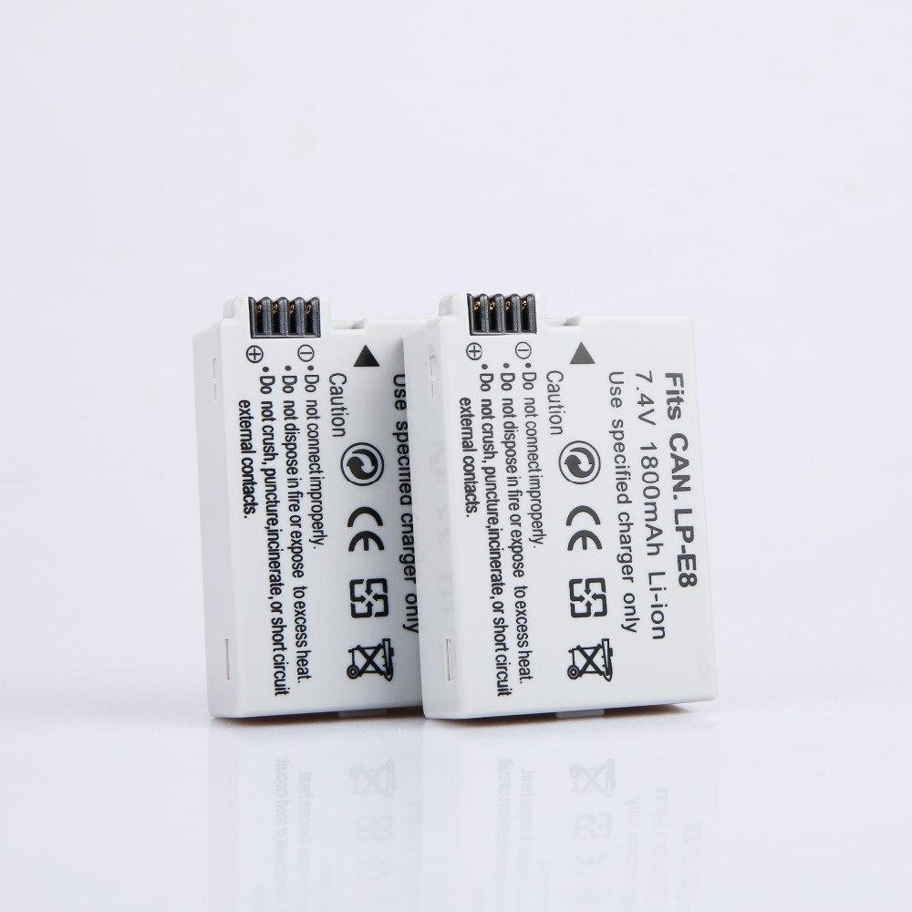 10 pcs 1800 mAh LP-E8 LP E8 LPE8 Appareil Photo Batterie Batteries AKKU Pack pour Canon EOS 550D 600D 650D 700D Rebel X4 X5 X6i X7 - 2