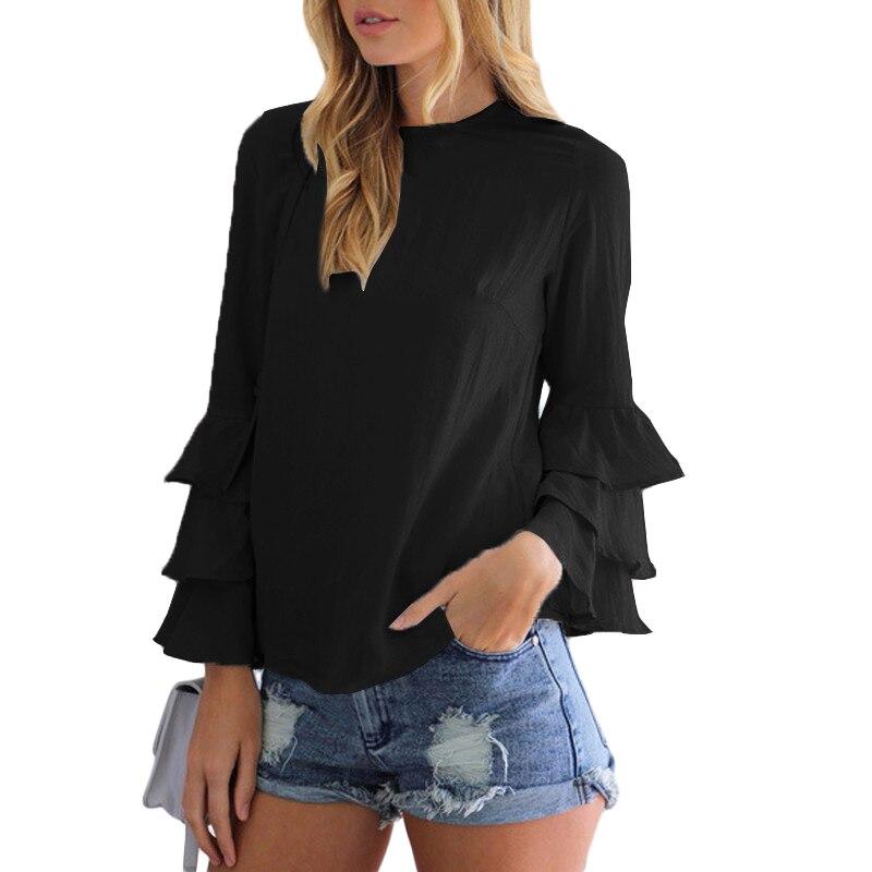 Blusas de las mujeres Camisas 2017 de Moda Señoras Elegantes O Cuello Volante de