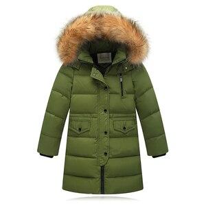 Image 5 - Утепленные теплые пуховики для девочек; Детские пуховые пальто с меховым воротником и капюшоном; Ветрозащитная куртка для девочек; Русская холодная зима