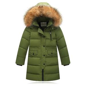 Image 5 - Kızlar kalınlaşma sıcak aşağı ceketler çocuk kürk yaka kapşonlu aşağı mont kız rüzgar geçirmez ceket rusya soğuk kış