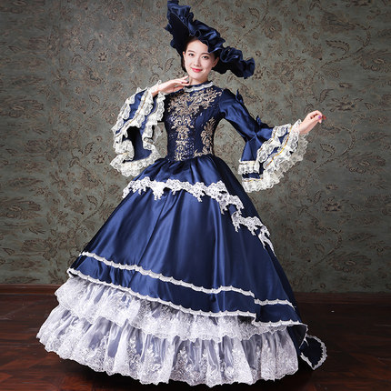 c3231e322361 Lace Printed Marie Antoinette Masquerade Ball Gown Medieval Southern Rococo  Belle Dress Theatrical Clothing