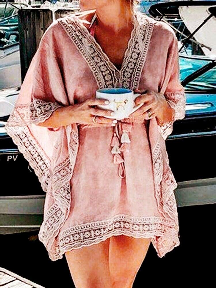 Boho playa Mujer encaje Crochet hueco Mini cubierta-Ups vestido elástico colección cintura traje de baño caftán Batwing traje de baño cubrir 2019 nuevo verano Mujer Bikini cubrir Floral encaje crochet hueco traje de baño cubrir-Ups traje de baño playa túnica Vestido de playa caliente
