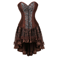 Women Bustiers Lingerie Ruffled Satin Lace Trim Gothic Ladies Corset Dress Vintage Steampunk Skirt Cosplay Costumes 2836 7056