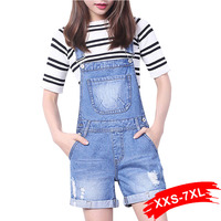 Summer Combinaison Short Femme Denim Casual Hole Moto Short Jumpsuits Shorts Jean Overall Plus Size Rompers Xxx 4Xl 5Xl 7XL XXS