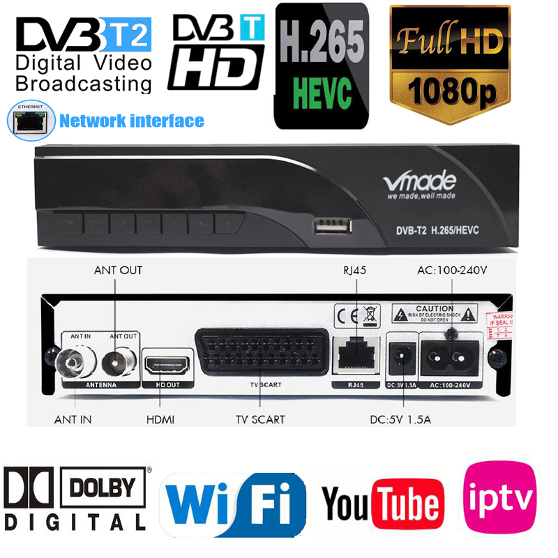 2019 New H265 DVB-T2 Digital Broadcasting Tv Box Dvb T2 Terrestrial Digital Tv Receiver With HDMI Scart Dolby Ac3 H.265 Youtube