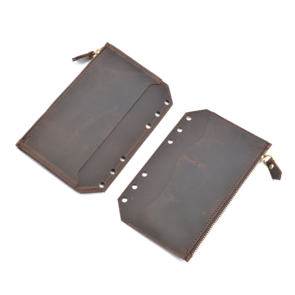 Genuine Leather Zipper Bag For A6 Rings Notebook 6 Hole Card Pocker Storage 170x110mm For Planner Organizer Sketchbook
