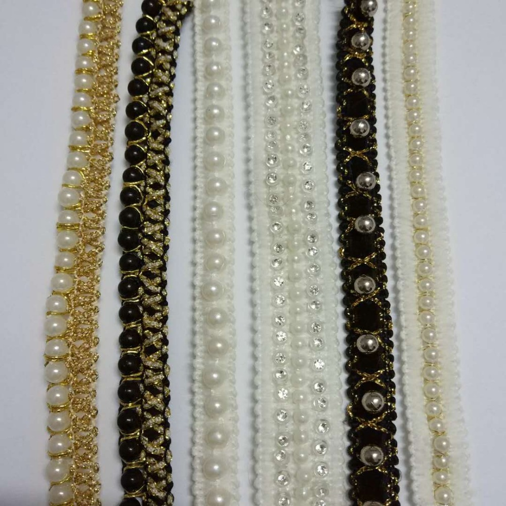 3Yard/ lot Beaded Lace Sewing 1cm to 2.5cm Vintage Net Gold Trim Garment Accessory Black Beads lace