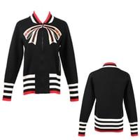 Ladies Vintage Black White Color Tie Bow Knitted Coat High Street Zipper Jacket Women Casual Slim Pocket Outerwear Coat Runway